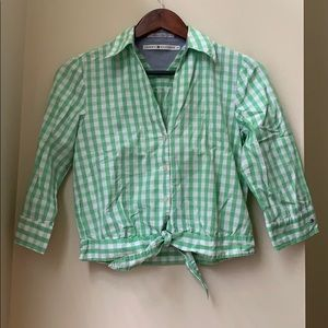 Tommy Hilfiger Green Tie Front Button Down Top